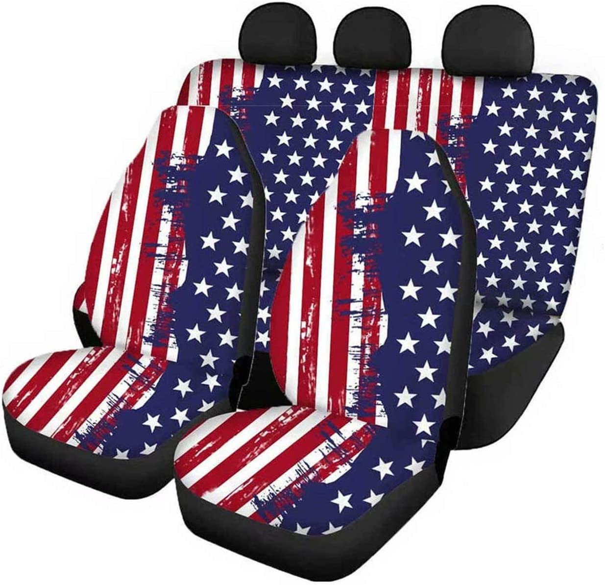 GePrint Retro Shipping included American 2021 Flag Car Seat Bench Front and Covers Rear