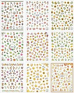 Minkissy 9 Blatt Thanksgiving Nail Art Sticker Herbst Ahorn