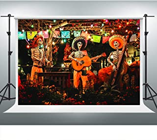 Day of The Dead Backdrop for Mexican Fiesta Dia de Los Muertos Background 7x5ft Skull Guitar Kid's Dress-up Party Decorations Photo Booth Props ZYVV0428