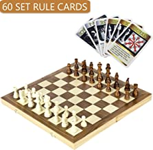 iBaseToy Folding Wooden Chess Set with 60 Game Rules Cards for Adults Kids Beginners Large Chess Board - 15