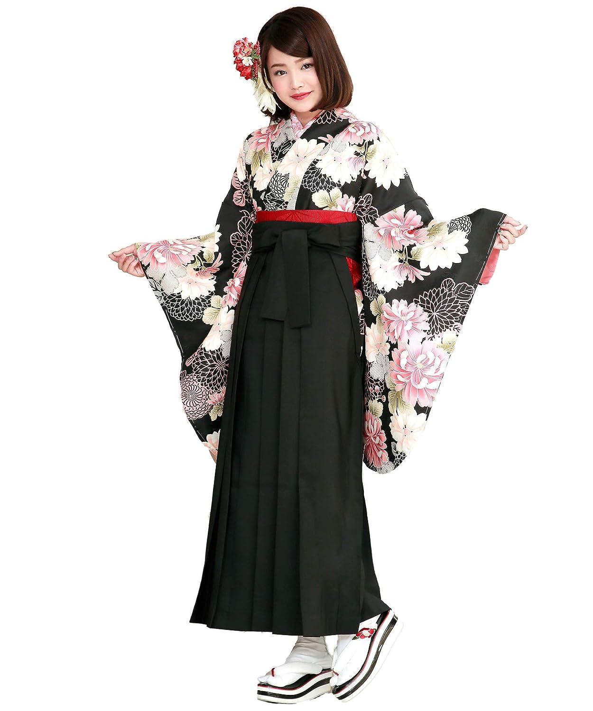 (ソウビエン)袴セット 卒業式 黒 ピンク 菊 鹿の子 小振袖