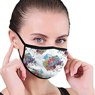 Dust Mask Coral Reef Hedgehogs - Reusable Comfy Breathable Safety Air Fog Respirator - For Blocking Dust Air Pollution Flu Protection
