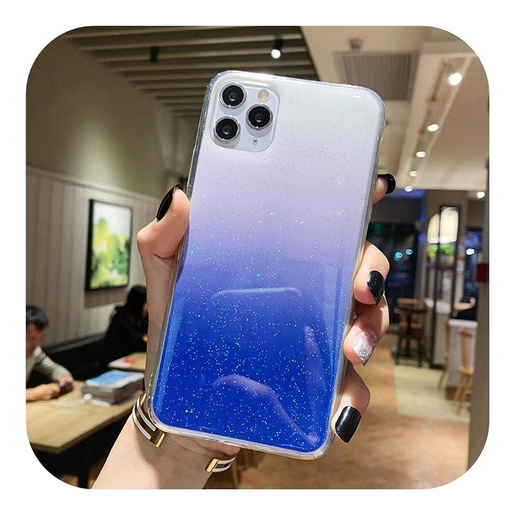 女将階段誘惑する人気の最新キラキラ透明電話ケースiphone 11プロマックスX XR Xsマックスブリンブリンパウダーソフトシリコンカバーiphone 6 6 s 7 8プラス-Deep Blue-For iPhone 6 6s
