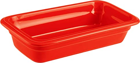 Paderno World Cuisine 44317R06 Induction or Porcelain Hotel Pan, Extra Small, Red