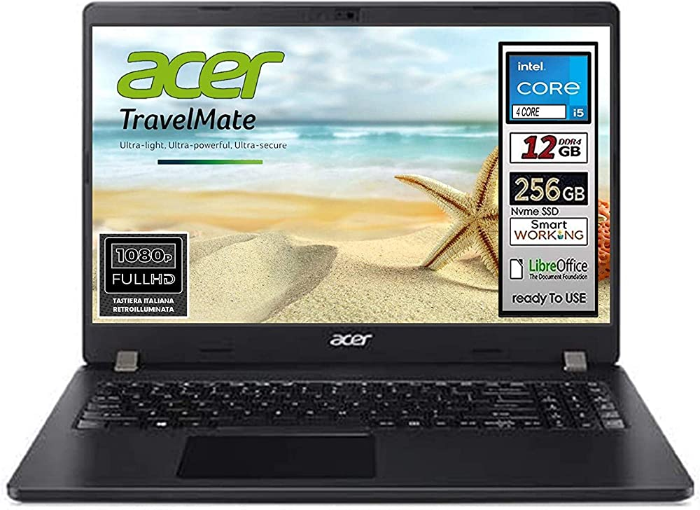 Acer pc portatile intel i5 10th ram 12 gb ssd 256gb display 15.6 full hd led svga intel hd 600 NX.EFTET.B00p1