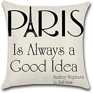 Throw Pillow Case, ForeverCase Cotton Linen Decorative Pillowcase Throw Pillow Cushion Cover Paris is Always a Good Idea Square 18x18 Inch