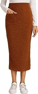 Women's Pocket Front Split Back Bodycon Pencil Knitted Midi Skirt