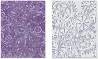 Sizzix 657195 Texture Fades Embossing Folders, Pocket Watches & Steampunk Set by Tim Holtz, 2-Pack, Multicolor