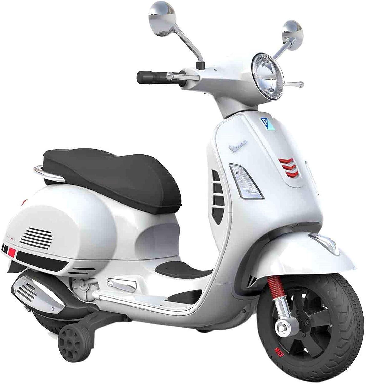SIP Scootershop Vespa GTS - Patinete eléctrico 12 V, color blanco incluye batería y cargador