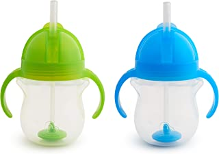 Munchkin Click Lock Weighted Straw Cup, 7 Ounce, Blue/Green, Pack of 2