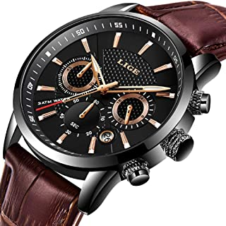 Mens Watches Sports Waterproof Chronograph Luxury Business Quartz Watch Military Casual Brown Leather Black Date Wristwatch