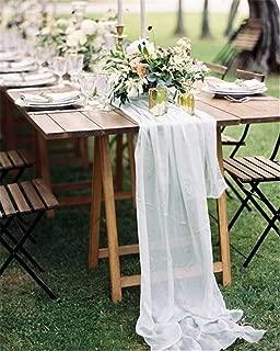 QueenDream 1 Piece Chiffon Table Runnr 10Ft White Sheer Table Runner Wedding Table Runner Wedding Reception Table Decor