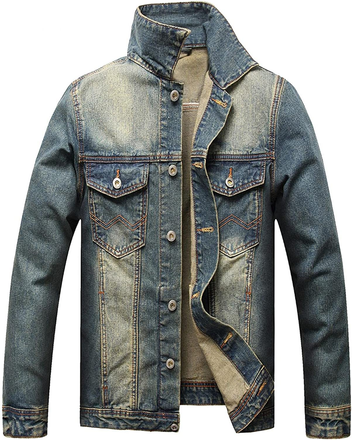 XUNFUN Jean Jacket At the price for Max 78% OFF Men Classic Wash Slim S Ripped Distressed