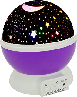 Night Lights for Kids, ZHOPPY Star and Moon Starlight Projector Bedside Lamp for Baby Room Kids Bedroom Decorations - Birthday Gifts for Kids (Purple)