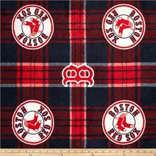 Fabric Traditions MLB Fleece Boston Sox Plaid Blue/Red Fabric by The Yard