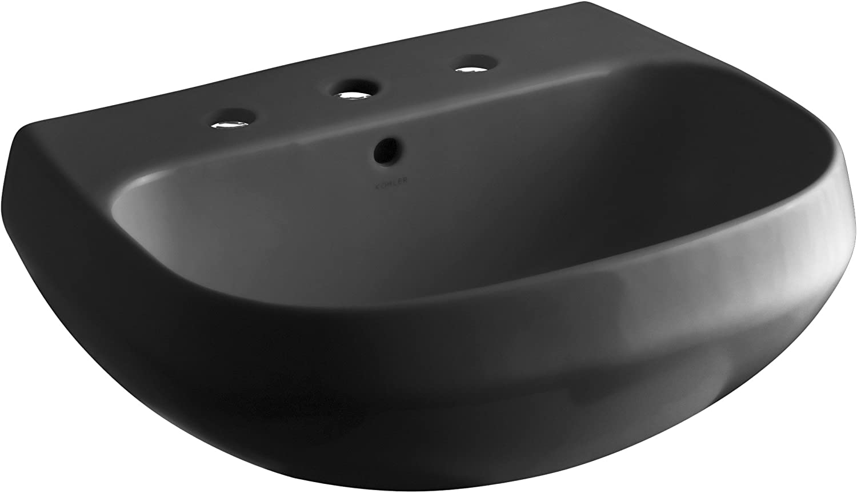 KOHLER K-2296-8-7 Wellworth Bathroom Sink Basin with 8  Centers, Black Black