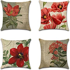 Artscope Set of 4 Decorative Throw Pillow Covers 18x18 Inches, Vintage Red Flower Pattern Waterproof Cushion Covers, Perfect to Outdoor Patio Garden Living Room Sofa Farmhouse Decor