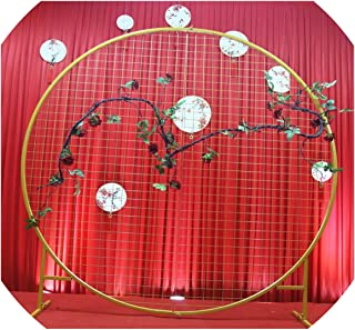Wedding Decoration Iron Circle mesh Arch Ring Wedding Background mesh a Wreath Shelf for Party & A Ring Frame for Balloon,Gold,2m