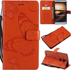 Huawei Mate Case THRION Butterfly Leather Flip Wallet Cover with Card Slot Holder and Magnetic Closure for Huawei Mate Orange