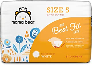 Amazon Brand - Mama Bear Best Fit Diapers Size 5, 31 Count, White Print [Packaging May Vary]
