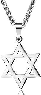 Star of David Pendant Necklace Stainless Steel Jewish Jewelry for Men Women Religious 20