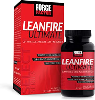Force Factor LeanFire Ultimate Premium Thermogenic Fat Burner with Added Energy, Focus, Concentration, Appetite Control for Weight Loss, 60 Count