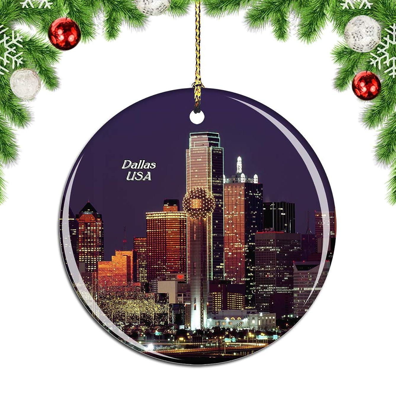 マトンジュラシックパーク関連するWeekinoアメリカアメリカダラススカイラインクリスマスデコレーションオーナメントクリスマスツリーペンダントデコレーションシティトラベルお土産コレクション磁器2.85インチ