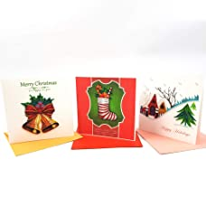 Christmas Cards Assortment Set of 3 cards-1 of each design Handmade Quilling Art 3D Holiday Greeting Cards with Envelopes) Blank Inside, suitable for Framing, 6x6