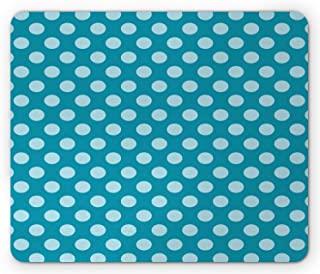 Ambesonne Teal Mouse Pad, Retro Style Pattern with Polka Dots Soft High Seas Colored Pale Blue Spots Blots, Rectangle Non-...