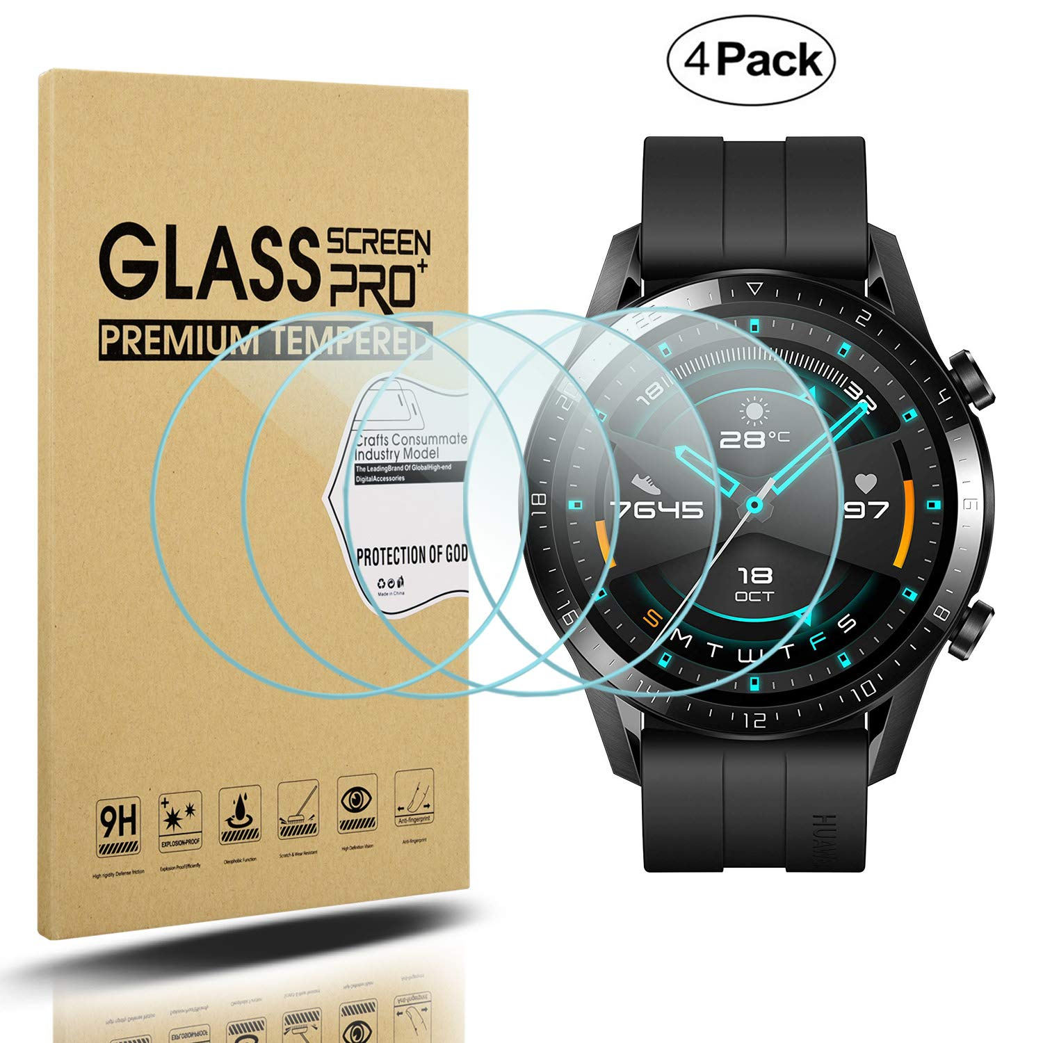 Suoman 4-Pack for Polar Ignite Screen Protector Tempered Glass 2.5D 9H Hardness Screen Protector for Polar Ignite Smartwatch