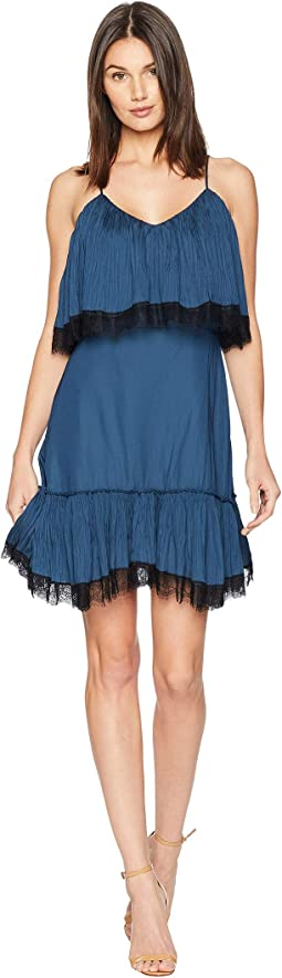 Sleeveless V-Neck Pleated Dress w/ Lace