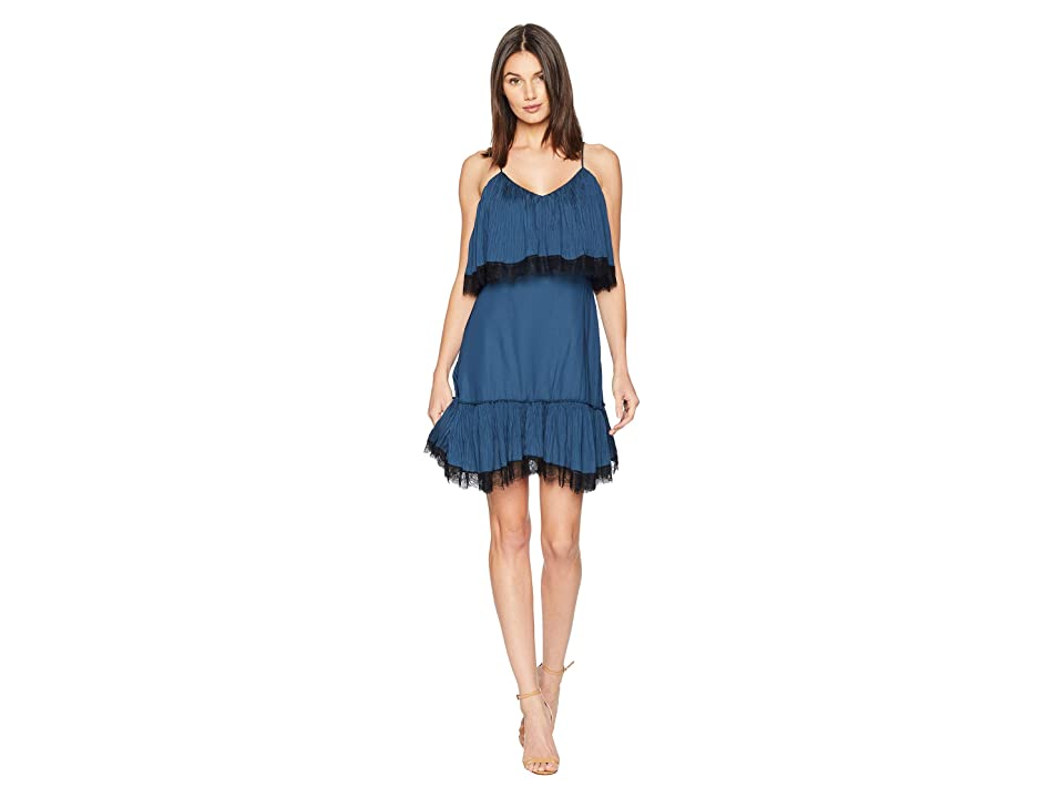 Halston Heritage Sleeveless V-Neck Pleated Dress w/ Lace (Teal) Women