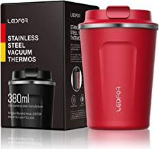 Leidfor Insulated Tumbler Coffee Travel Mug Vacuum Insulation Coffee Thermos Stainless Steel with Screw on Lid Leak proof BPA-Free 12 oz RED
