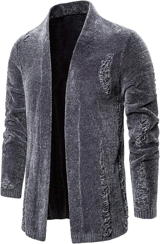 Mens Clothes Warm Long Cardigans Mans Streetwear Windbreaker Knitted Sweater Men Casual Cardigan