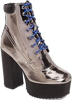 Shellys London Evan Pewter Multi Lace Up Chunky Platform Hi Chunky Heel Boots