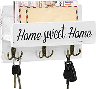Rustic Key Holder for Wall with Mail Shelf, Decorative Wooden Mail Organizer with 3 Double Key Hooks, Wood Hanging Mail So...