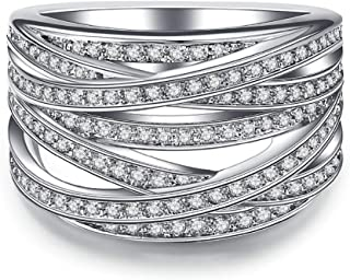 Intertwined Crossover Statement Ring Wedding Bands for Women Micro Pave CZ Cocktails Size 5-10