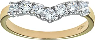 Citerna 9 克拉黄金和白金宝石套装叉骨戒指