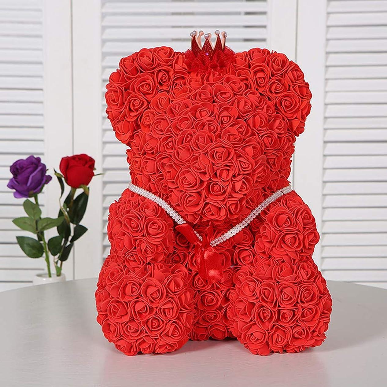美人オーストラリア人過度にローズフラワーベア人工クリスマスプレゼント女性のためのバレンタインデー新年の家の装飾 (赤)
