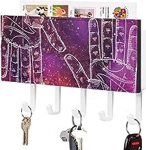 Crochet de clé fixé au mur, trieur de courrier, art rose coloré ciel galaxie main silhouette décor à la maison pour salle ...