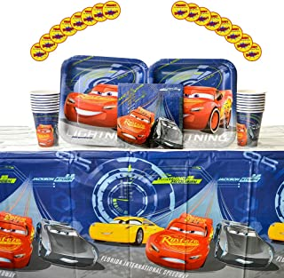 Cars 3 Party Supplies Pack for 16 Guests - Stickers, Dinner Plates, Luncheon Napkins, Cups, and Table Cover