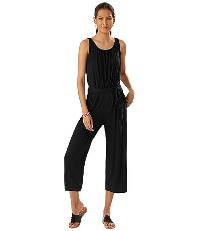 Tommy Bahama Slub Knit Sleeveless Crop Jumpsuit Cover-Up (Black) Women