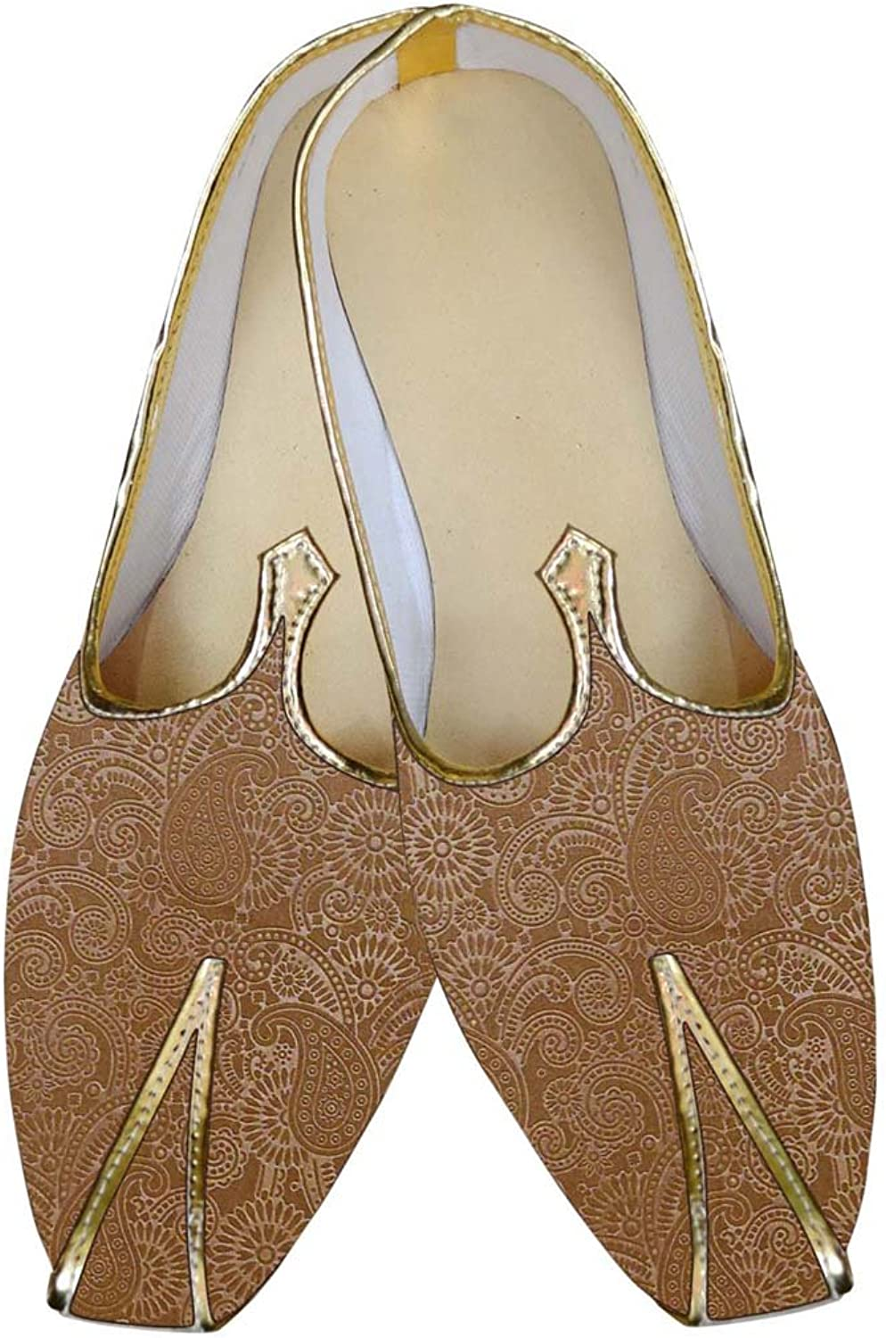 INMONARCH Mens Bisque Wedding shoes Paisley Pattern MJ015648