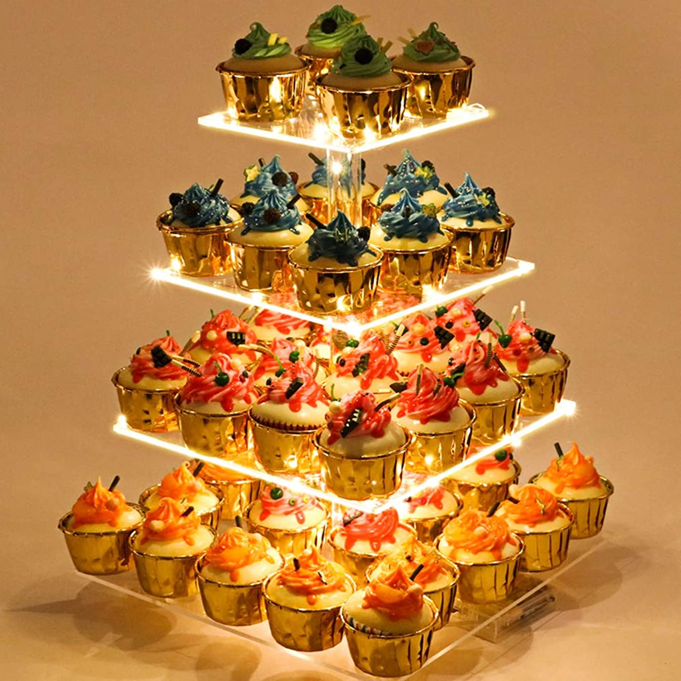 Cupcake Stand – Premium Cupcake Holder – Acrylic Cupcake Tower Display – Cady Bar Party Décor – 4 Tier Acrylic Display for Pastry + LED Light String – Ideal for Weddings, Birthday Parties & Events