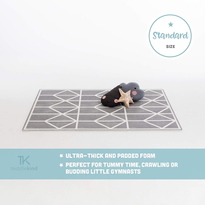 Krabbelmatte von Toddlekind  Spielmatte in Premium Qualitt Extra Dicke, Abwischbare Puzzlematte Grau & Weiss, multifunktional Kinder Spielteppich 0m+