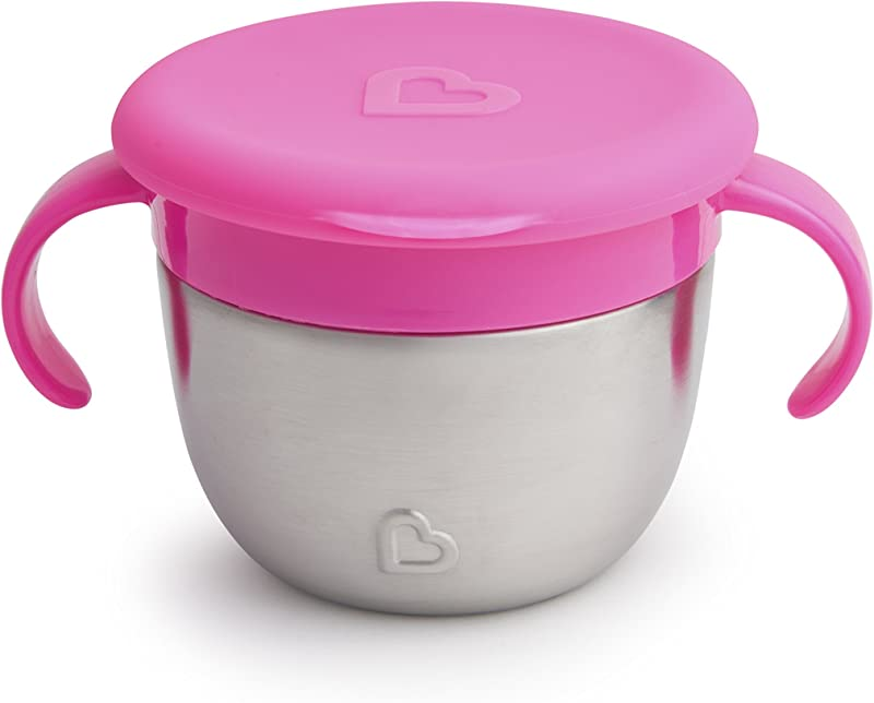 Munchkin Stainless Steel Snack Catcher With Lid 9 Ounce Pink