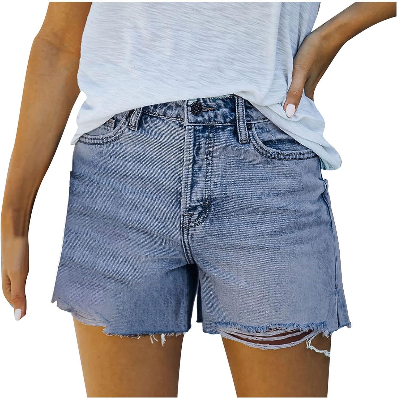 WYBAXZ Boston Mall Slim Denim Shorts for Free Shipping New 2021 Frayed Distresse Summer Women