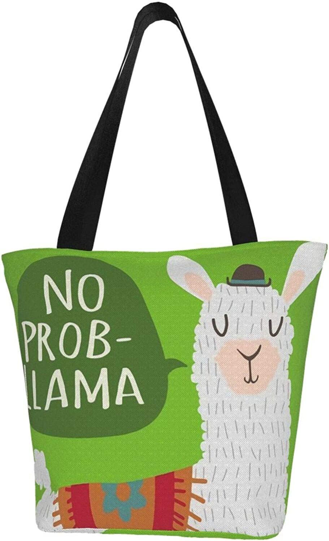 No Prob-Llama Green Pride Themed Printed Women Canvas Handbag Zipper Shoulder Bag Work Booksbag Tote Purse Leisure Hobo Bag For Shopping