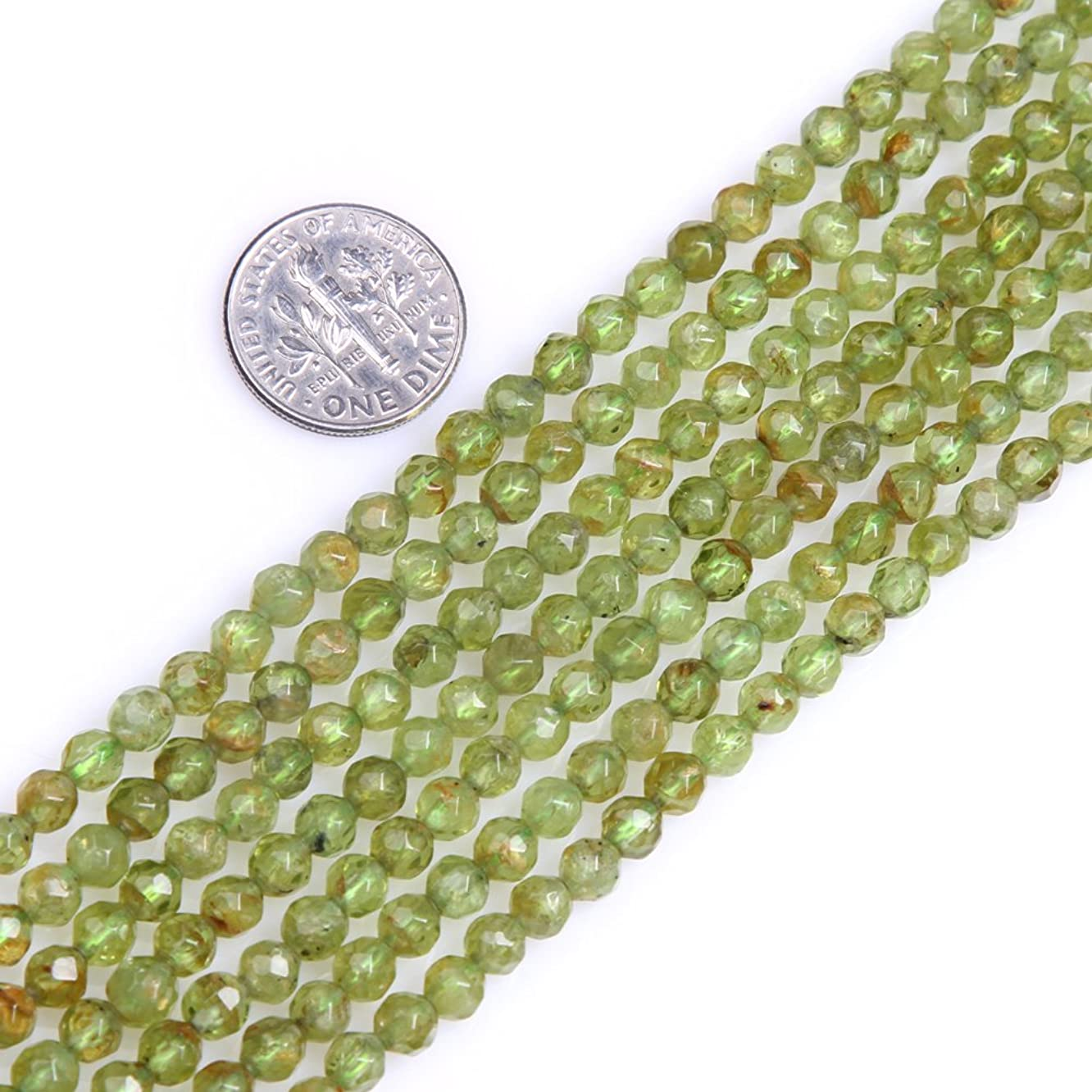 GEM-inside Natural 4mm Faceted Green Peridot Gemstone Tiny Seed Round Strand Loose Beads for Jewelry Making Jewelry Beading Supplies for Women jzgurksee009343