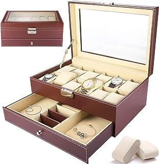 SaiXuan Boîte à montres avec 12 Compartiments,Présentoir de Montre en Cuir Synthétique de Double Couche,Coffret de Bijoux ...